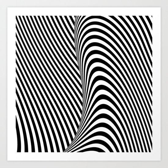 Black and White Pop Art optical illusion lines Art Print