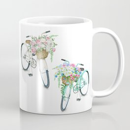 Two Vintage Bicycles With Flower Baskets Coffee Mug