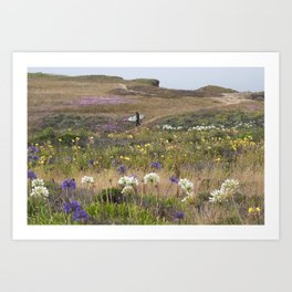 Surfer Walking to the Beach Through Field of Flowers Art Print