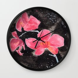 Orchid Ink Painting Wall Clock