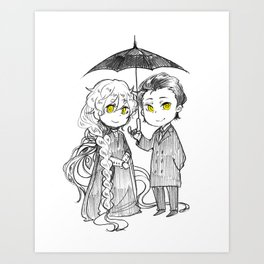 Charlotte and Umbrella man Art Print