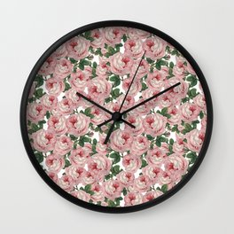 Pink Vintage Roses Collage Wall Clock
