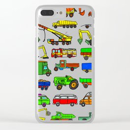 Doodle Trucks Vans and Vehicles Clear iPhone Case