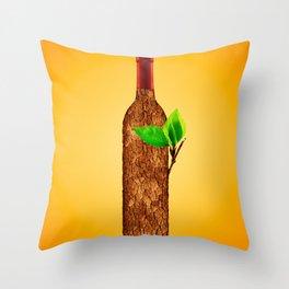 Eco-friendly Wine Illustration Throw Pillow