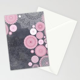 FESTIVAL FLOW - PINK GREY Stationery Cards