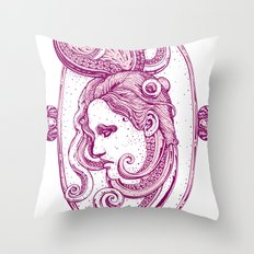 Octopus/girl in pink Throw Pillow