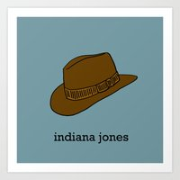 indiana jones Art Prints featuring Indiana Jones by Illustrated by Jenny