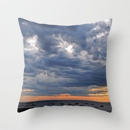 Dramatic Skies Over the Sea Throw Pillow