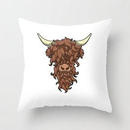 Scottish Highland Cow Wild Hairstyle Gift Throw Pillow