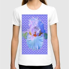 BLUISH-WHITE PASTEL IRIS FLOWERS OPTICAL ART PATTERNS T-shirt