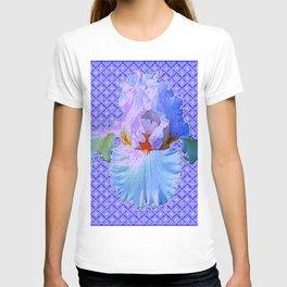 BLUISH-WHITE PASTEL IRIS FLOWERS OPTICAL ART PATTERNS T-shirt