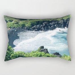 Hawaiian Black Sand Tropical Beach Rectangular Pillow