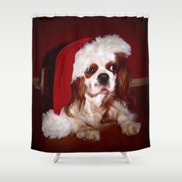 Santa Cavalier Spaniel Puppy Shower Curtain
