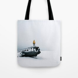 Plane wreck in Iceland with person - Landscape Photography Tote Bag