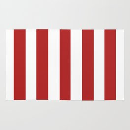 Firebrick red - solid color - white vertical lines pattern Rug