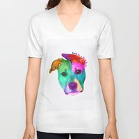 pit bull V-neck T-shirts featuring Love is a pit bull by Shay by design