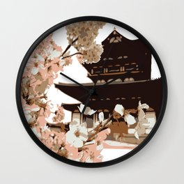 Korean Palace and Cheery Blossom in Garden Wall Clock