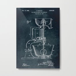 1932 - Food mixer and fruit juice extractor patent art Metal Print