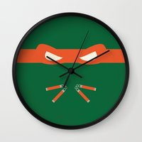 ninja turtles Wall Clocks featuring Orange Ninja Turtles Michelangelo by 1986