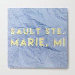 Sault Ste. Marie, MI Paper Design Metal Print