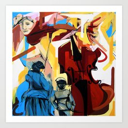 Expressive Cello People Painting Art Print