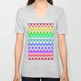 Ikat Pattern in Rainbow Colors on Cream Unisex V-Neck