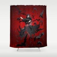 luffy Shower Curtains featuring Sharingan Genjutsu Izanami by Electra