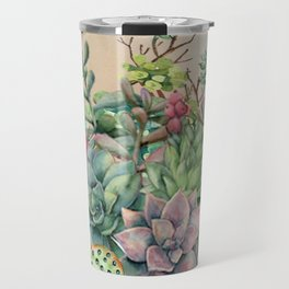 Colorful Succulents in Watercolor Travel Mug