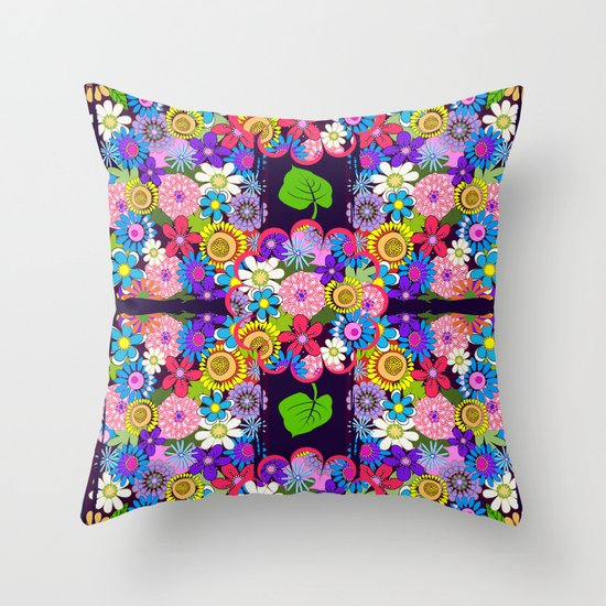 Cute Throw Pillow Society6 : Cute Colourful Flowers Throw Pillow by Thea Walstra Society6