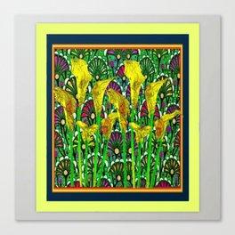 GREEN ART DECO YELLOW CALLA LILIES ART Canvas Print