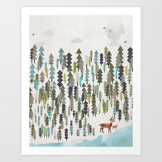 the winter forest Art Print
