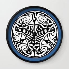 Celtic Art - Interlaced Birds - on Blue Wall Clock