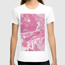 Soft Rose and Cream Marble Pattern T-shirt