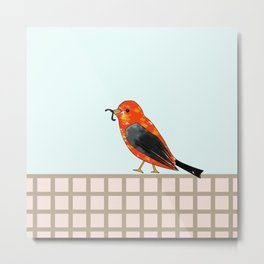 lonely bird walking with the worm Metal Print