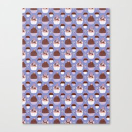 Baked Cupcakes Food Vector Pattern Canvas Print