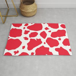 red and white animal print cow spots Rug