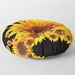 Raining Yellow Sunflowers Decorative Black Pattern  Floor Pillow