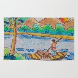 Man rowing boat Rug