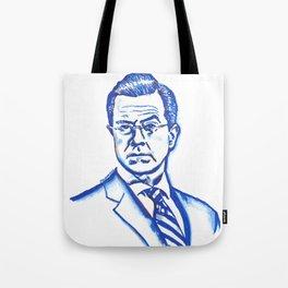 Stephen Colbert in Blue Tote Bag