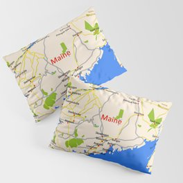 Map of Maine state, USA Pillow Sham