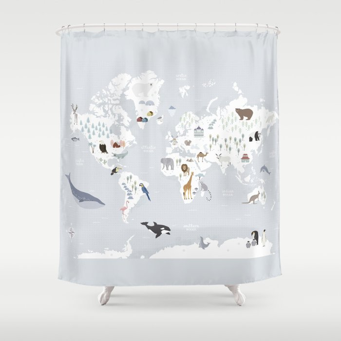Animal Map Of The World Shower Curtain By Missmalagata Society6
