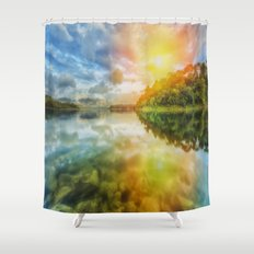 The Other Dimension Sunset Reflection  Shower Curtain