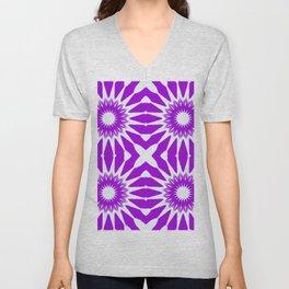 purple & white pinwheel flowers Unisex V-Neck