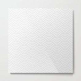 Japanese Seigaija Pattern_Gray & White Metal Print