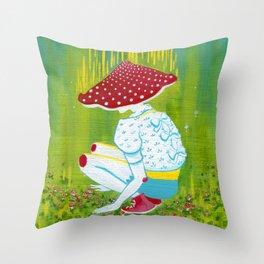 Amanita Mushroom Fairy Ring Throw Pillow