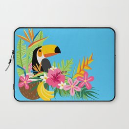 Tropical Toucan Island Coconut Flowers Fruit Blue Background Laptop Sleeve