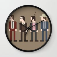 anchorman Wall Clocks featuring Anchorman 8-Bit by Eight Bit Design