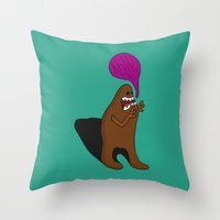 bigfoot Throw Pillows featuring Sandy Bigfoot by Chelsea Herrick