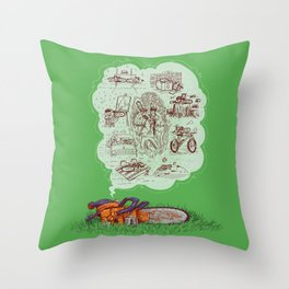 The Dreams of the Wonder Chainsaw Throw Pillow