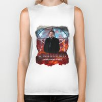 crowley Biker Tanks featuring Supernatural Crowley King of Hell S6 by Jamie Fontaine